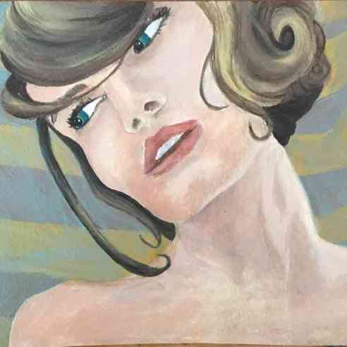 acrylic painting of a woman with her head tilted with short hair and bangs